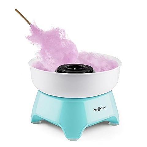 oneConcept Candycloud - Machine à barbe à papa Cotton Candy maker pour fêtes, anniversaires, puissance 500W (grand récipient 29cm Ø, batonnet inclus, adapté lave-vaisselle) – bleu
