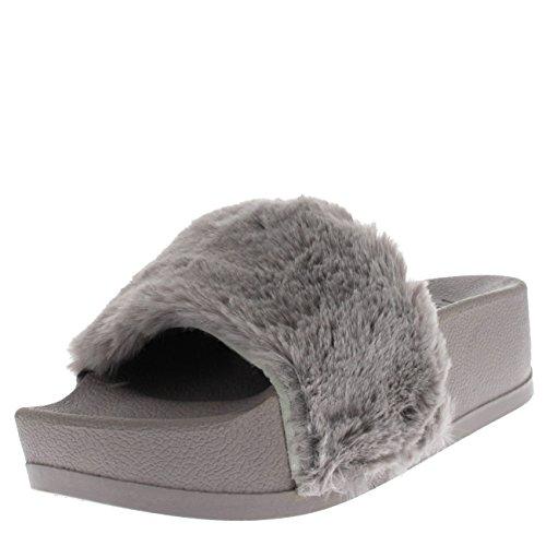 Viva Womens Sassy Chic Summer Single Strap Open Toe Fluffy Flat Eva Fashion Sandals - Grey Platform Pn0127 5uk38