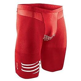 COMPRESSPORT Tr3 Brutal Short V2 Pantalone Compressivo da Gara Triathlon con Fondello, Rosso, 1