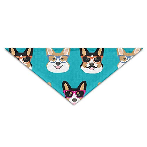Sdltkhy Cute Corgi Glasses and Mustaches Baby Pet Triangle Head Scarfs Dog Scarves Puppy Triangle
