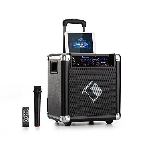 "auna Moving 80 PA-Anlage • 8"" (20 cm) Woofer • 35 W Nennleistung • 100 W max. Spitzenleistung • XMR-Bass-Technology • VHF-Mikro • USB • SD-Slot • Bluetooth • AUX • mobil • integrierter Akku • schwarz"