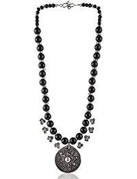 Enaakshi Fashion Jewellery Handmade Necklace With Black Beads Strand Oxidised Silver Pendant Necklace Set For...
