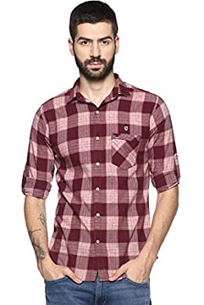 SPEAK Mens Cotton Casual Red Checks Shirt (38 / M) with Roll up Sleeves