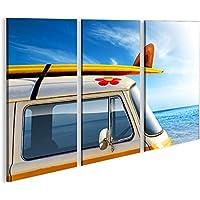 Bild auf Leinwand Strand Bulli Samba T1 Bus 1K Leinwandbild Wandbild Poster