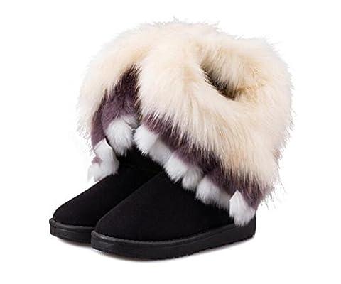 CHAOYANG-Winter-Schneeschuhe in der Röhre weiblichen Nachahmung Fuchspelz Stiefel bequem und warm Frauen Stiefel Baumwolle , 39 , black