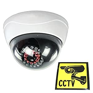 Ex-Pro High Quality Dummy / Fake CCTV Security Dome Camera With built-in Multi IR LED that light up in the dark