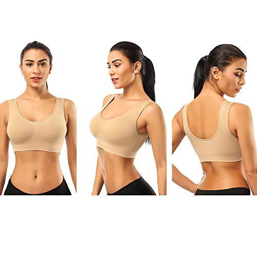 SIMIYA Damen Sport BH, Bequem Frauen Bustier, Push Up und Ohne Bügel, 1er Pack 3er Pack(3 stück beige #2,XXXL)