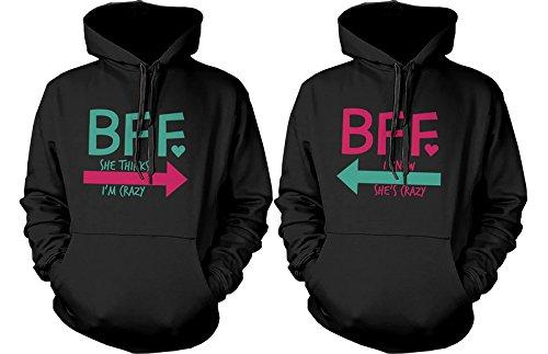 BFF accesorios BFF Pullover Sudaderas–Sudaderas con capucha para CRAZY y letras BFF mejores amigos -  negro -  izquierda-Small / derecho-Small