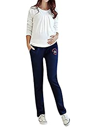 Flora Damen Schwangerschafts Jogginghose Volles Hosenbein Lang Gerades Bein Buchstaben Stickerei