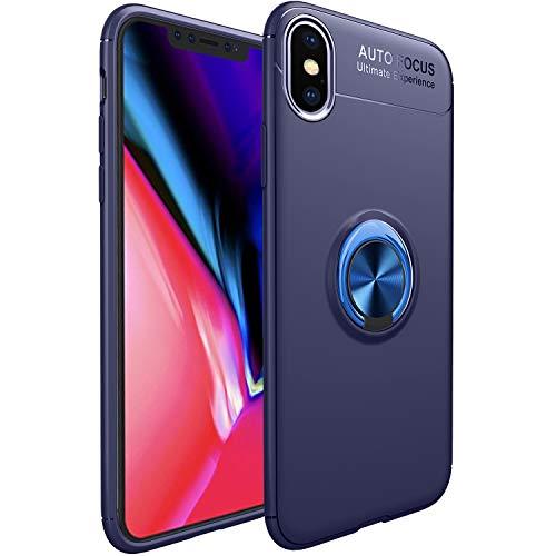 WATACHE iPhone XS Max Hülle, Slim Fit Heavy Duty weichen TPU Fall mit Metall Finger Ring Grip Halter Ständer [Support Magnetic Car Mount] für Apple iPhone XS Max (6.5
