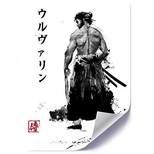 carowall CAROWALL.COM Cartel Póster Cuadro Immortal Samurai Blanco y Negro 50x70 cm