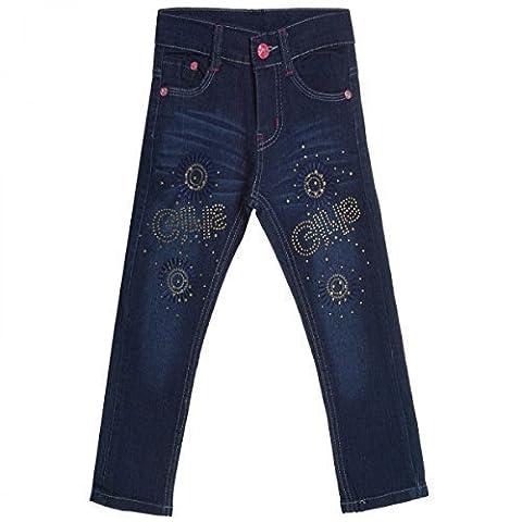 Kinder Mädchen Jeans Hose Röhre Straight Fit Skinny Sommer Stretch Bootcut 20488, Farbe:Blau;Größe:104