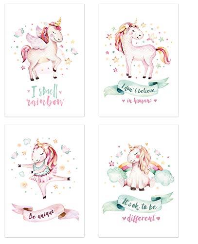 PICSonPAPER - Juego de 4 pósteres para niños, DIN A4, sin Marco,...
