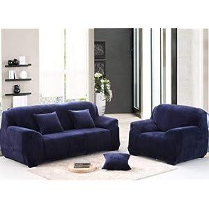 Dicke Sofaüberzüge, 1/2/3/4-Sitz-Überwurf, Sofa Schutzüberzug aus Samt. einfache Passform, Stretch-Material, Couch-/Bettüberwurf, blau, 3 Seater:195-230cm