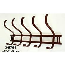 Perchero pared madera Suska 1020-3575120 Perchero madera con cinco ganchos dobles(72x31x21cm),madera