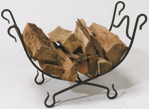 Log Bin (Panacea Schmiedeeisen zusammenklappbar Log Bin, Metall, schwarz, 35.1x 21,6x 63,9cm)