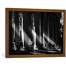 """Cuadro con marco: Sol Marrades """"ROMA - Piazza San Pietro, Città del Vaticano"""" - Impresión artística decorativa con marco de alta calidad, 90x60 cm, Cobre cepillado"""