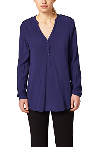 ESPRIT Damen Bluse 127EE1F024, Blau (Dark Blue 405), 40