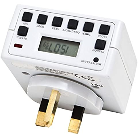 Sockit Electronic Compact Energy Saver Plug-in Mains Timer with LCD Digital Display 12 / 24 Hour 7 Day Programmable settings by Sockit