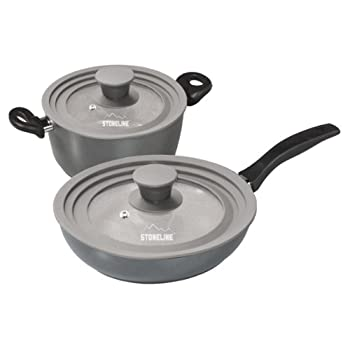 Warimex Stoneline 13705 Multifunctional Glass Lids with Silicone Edging for Pots and Pans Set of 2 Diameter 16/18 / 20 cm and 24/26 / 28 cm