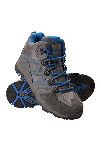 Mountain Warehouse Oscar Kinder-Wanderschuhe - Strapazfähige Wanderstiefel, atmungsaktive Mädchen- & Jungenschuhe, Wildleder- Für Zelten & Trekking Blau 35 EU Mountain Schuhe