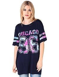 KRISP® Femmes T- Shirt Long Boyfriend Looose Fit Imprimé A Fleurs