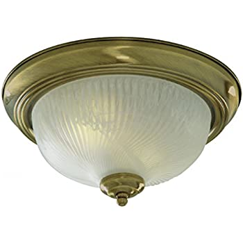Jupiter flush ceiling light antique brass finish surround with searchlight lighting 7622 11ab antique brass finish flush ceiling light with ribbed glass diffuser 2 x 40 watts mozeypictures Images