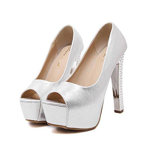 YMXJB Chaussures de hauts talons mode Club sexy super épais poisson bouche Silver