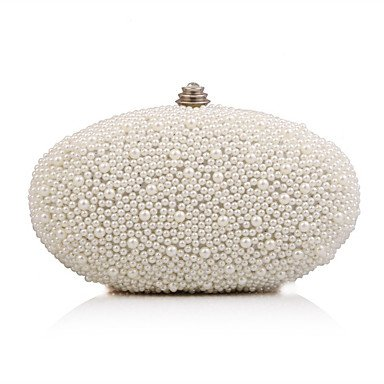 Frauen Abend Beutel Polyester All Seasons Event/Party Hochzeit Minaudiere Imitation Pearl Crystal/strass spange Lock Apricot weiß Handtasche Kupplung, Weiß (Minaudiere Crystal)