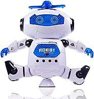 لعبة روبوت الكتروني يمشي ويرقص ويغني هدية لعبة روبوت مع موسيقا واضواء وامضة للاولاد، للفتيان والفتيات (ابيض)