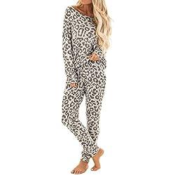 Pijamas Mujer 2 Piezas Conjuntos Sexy e Elegante Manga Pantalon Largos,Suave Comodo y Agradable,2Pcs Mujeres Chándal Leopardo Pantalones de Impresión Establece Ocio Wear Lounge Traje