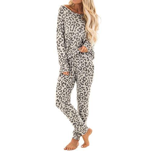 Damen Leopard Hosen drucken Setzt den Trainingsanzug Salon Tragen Anzug 2 stück