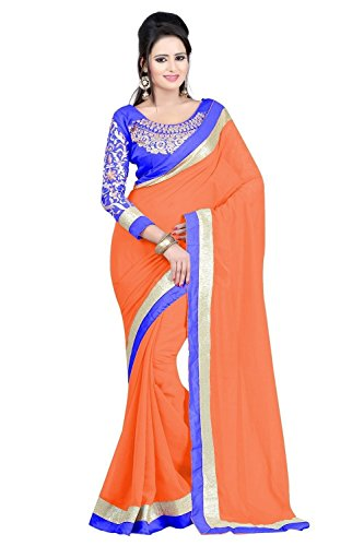 SUNSHINE Orange Color Georgette Fabric Embroidery Saree  ( New Arrival Latest Best...
