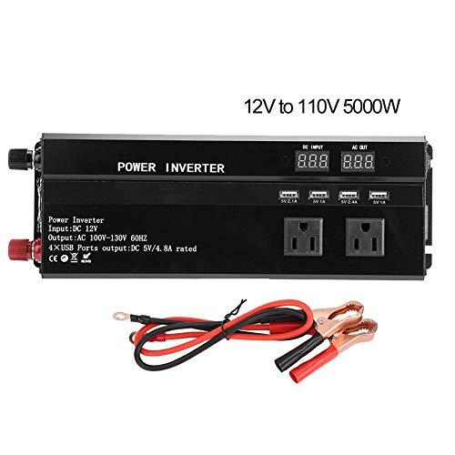BTIHCEUOT Auto Solar Inverter, 12 V/24 V zu 110 V LCD-Bildschirm High Power Inverter Batterie Konverter für Fahrzeug(12V to 110V-5000W)