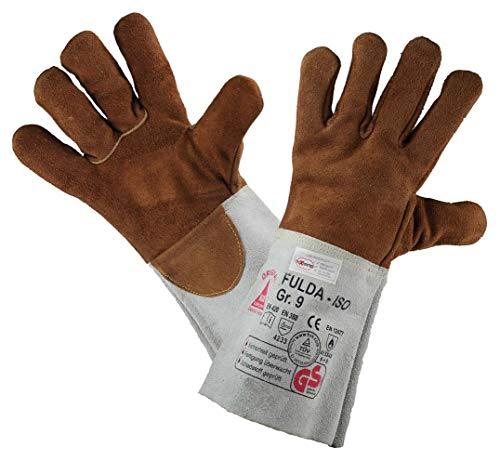 Hase Schweißschutzhandschuhe FULDA-ISO - Hitzebeständig/Kevlar-Garn, Braun, 10 (Kamin Handschuhe Lang)