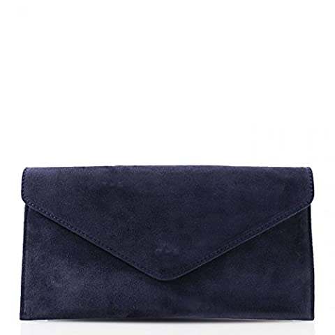 Genuine Italian Suede Leather Envelope Clutch Bags Party Wedding Purse