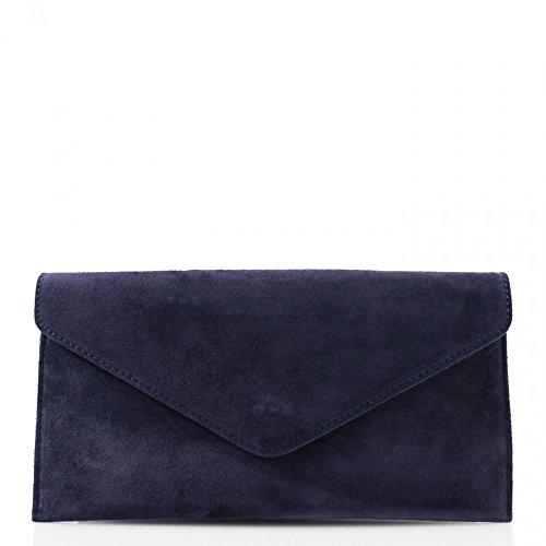 LeahWard® Genuine Italian Suede Leder Envelope Handtaschen Party Hochzeit Geldbörse Handtasche Umhängetasche CW01 Marine