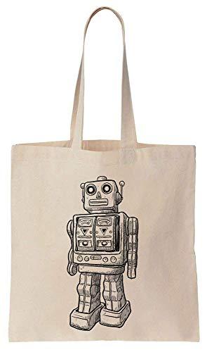 Finest Prints Cool Robot Sketch Cotton Canvas Tote Bag -
