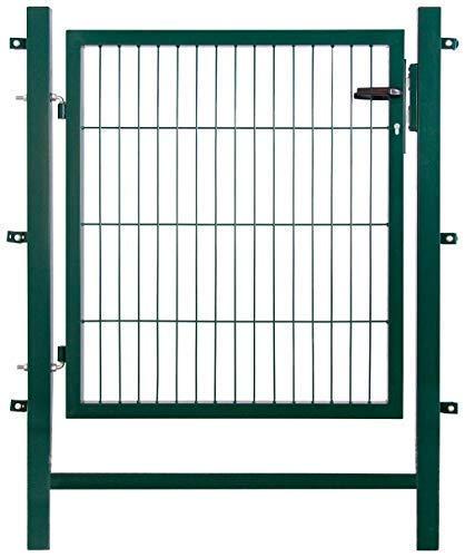 Arvotec Gartentor Easy (kein ausrichten der Pfosten notwendig durch Querverbindung !), BxH 1000 x 800 mm, grün - Tor für Doppelstabmattenzaun - komplett mit Pfosten, Montagematerial & Schloss (Den Tor Durch Garten)