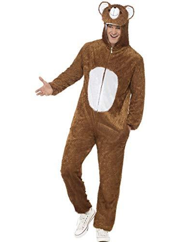 Luxuspiraten - Herren Männer Damen Kostüm Plüsch Bär Braunbär Teddybär Bear Fell Einteiler Onesie Overall Jumpsuit, perfekt für Karneval, Fasching und Fastnacht, L, (Löwe Tiger Bär Halloween Kostüm)