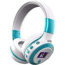Auriculares Bluetooth, ELEGIANT Cascos Inalámbricos 4.0 Diadema de Sonido Estéreo con 4 Modos De Altavoz + Micrófono Tarjeta SD/FM/TF Ranura/3,5 Mm De Audio Diseño Liviano Iphone Huawei Xiaomi Samsung Blanco