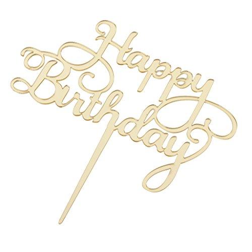 PETSOLA Kuchen Deckel mit Happy Birthday Zeichen - Gold