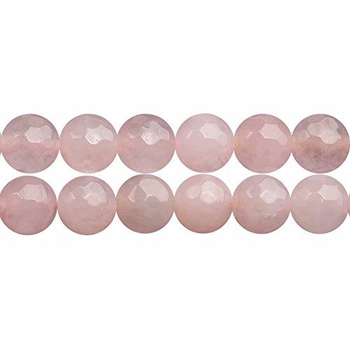 Perlen Rosenquarz Facettiert 6mm Edelstein Perlen zum Auffädeln 38cm Strang Approx 60 Stück