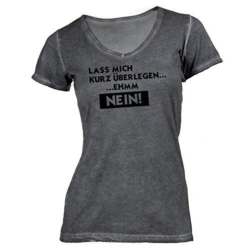 Damen T-Shirt V-Ausschnitt - Lass mich kurz überlegen... ehmm - NEIN! - Fun Style Work Job Dunkelgrau