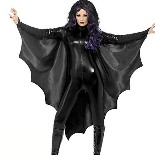 SHANGLY Fledermaus Kostüme Frau Halloween Cosplay Body Mit Kapuze Overall Geschenk Kostümparty,XL