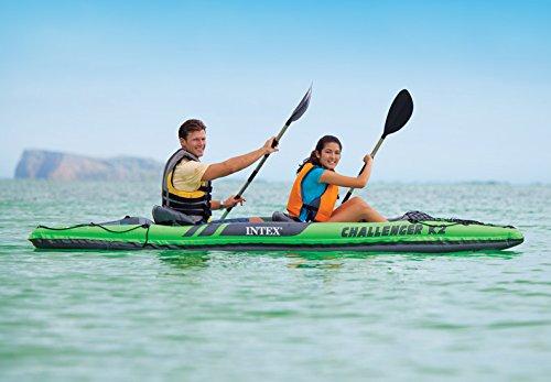 Intex Schlauchboot Aufblasbares Kajak Boot Challenger K2 Phthalates Free Inkl. 84 Paddel und Luftpumpe, 351 X 76 X 38 cm, 68306NP -