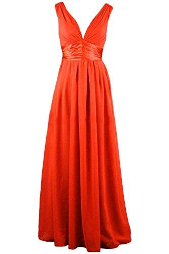 Sunvary Robe Longue Robe de Soir¨¦e Robe de Bal Deux Bretelles Col en V A-Ligne en Chiffon Orange