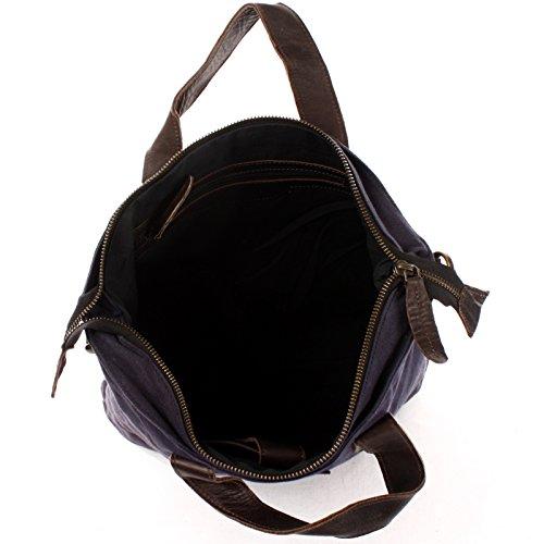 Leconi Pelle Shopper + Tela Look Vintage Per La Borsa Di Spalla Delle Signore Boia Grande Tasca Sacchetto A4 Borsa Delle Signore 39x45x10cm Le0037-c Navy / Marrone Scuro