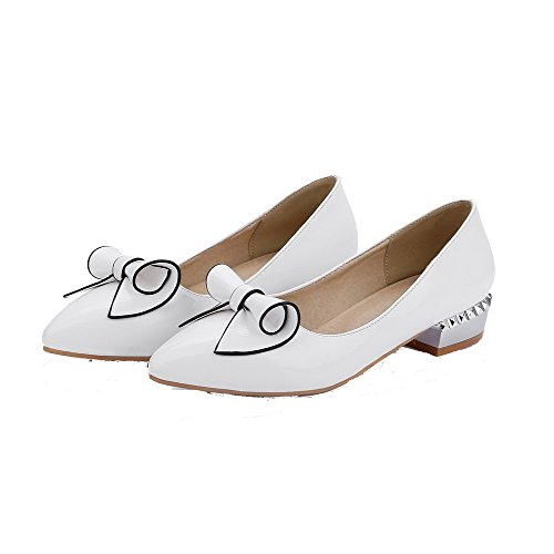AllhqFashion Femme Pu Cuir Couleur Unie Tire Pointu à Talon Bas Chaussures Légeres Blanc