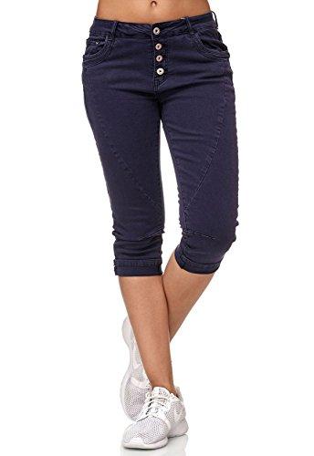 My Christy Damen Capri Jeans 3/4 Boyfriend Chino Hose Stretch Shorts D2344, Größe Damen:36 / S, Farben:Navy